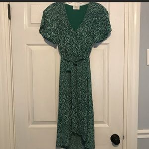 XS green polka dot dress